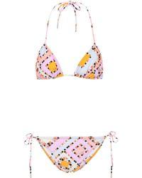 Emilio Pucci Bedruckter Triangel-Bikini - Mehrfarbig