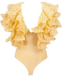 ROTATE BIRGER CHRISTENSEN Body Carmen aus Baumwolle mit Spitze - Gelb