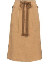 Tod's Linen Midi Skirt - Natural