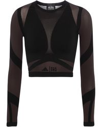 Wolford X Adidas Cropped-Top Sheer Motion - Schwarz