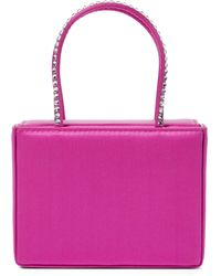 AMINA MUADDI Gilda Super Mini Embellished Satin Tote - Pink