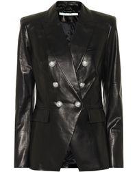 Veronica Beard Miller Dickey Leather Blazer - Black