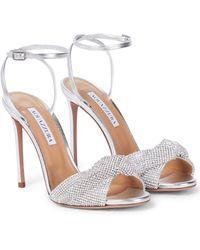 Aquazzura Crystal Twist 105 Leather Sandals - Metallic