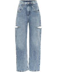 Maison Margiela Jeans a vita alta con cut-out - Blu