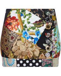 Dolce & Gabbana Minigonna patchwork in broccato con stampa - Multicolore