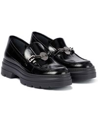 Max Mara Laryn Croc-effect Leather Loafers - Black