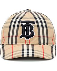 Burberry Tb Vintage Check Cotton Baseball Cap - Natural