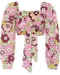 Dodo Bar Or Floral Cotton Crop Top - Pink