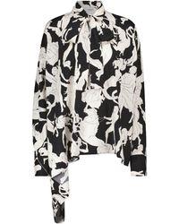Valentino Blusa in seta stretch con stampa - Nero