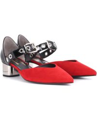 Self-Portrait - X Robert Clergerie Sasan Patent Leather And Suede Pumps - Lyst
