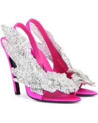 Balenciaga Embellished Satin Sandals - Pink