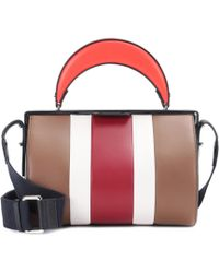 Marni Duffle Tag Leather Shoulder Bag - Red