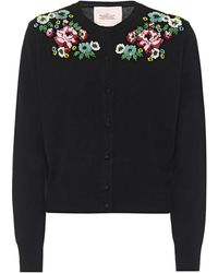 Marc Jacobs Embroidered Wool-blend Cardigan - Black
