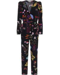 Stella McCartney Combi-pantalon imprimée en soie - Noir