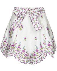 Zimmermann Poppy Embroidered Linen Shorts - White