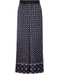 Sacai Pantalon imprimé à taille haute - Bleu