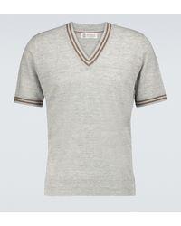 Brunello Cucinelli Pullover a maniche corte in lino e cotone - Grigio