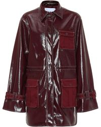 Ganni Patent Faux Leather Jacket - Red