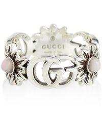 Gucci Anillo GG Marmont con perlas - Metálico