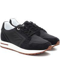 Loro Piana My Wind Suede-trimmed Sneakers - Black