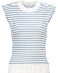 Philosophy Di Lorenzo Serafini Striped Cotton-blend Top - Blue