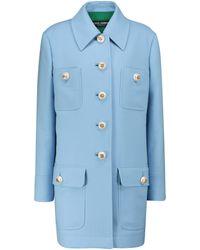 Dolce & Gabbana Manteau en crêpe de laine - Bleu