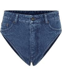 Y. Project Cotton-denim High-rise Shorts - Blue