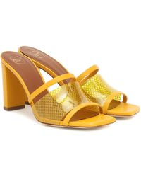 Malone Souliers Demi 70 Pvc And Leather Sandals - Yellow
