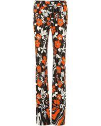 Prada Pantalon droit en jersey stretch imprimé - Marron