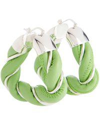 Bottega Veneta Ohrringe aus Leder und Sterlingsilber - Grün