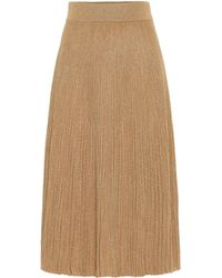 Marni Metallic Wool-blend Midi Skirt - Natural
