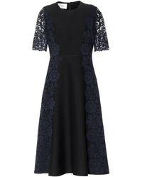 Valentino - Lace-trimmed Wool And Silk Midi Dress - Lyst