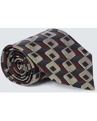 Dries Van Noten Corbata de seda estampada - Gris