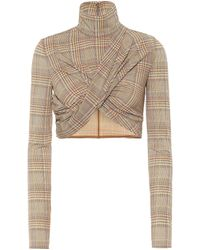 Burberry Checked Turtleneck Cropped Top - Natural