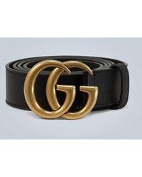 Gucci Cinturón de piel con hebilla GG - Negro