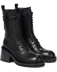 Ann Demeulemeester Leather Combat Boots - Black