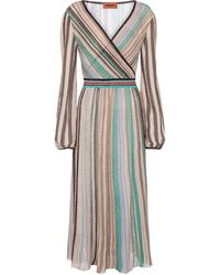 Missoni Vestido midi metalizado de rayas - Multicolor