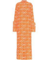 Jil Sander Robe chemise imprimée à fil coupé - Orange