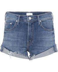 Mother Rascal Cuffed Denim Cut-off Shorts - Blue