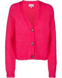 Ganni Cardigan aus einem Wollgemisch - Pink