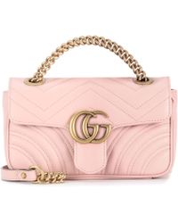 9a5604e3944 Gucci Gg Marmont Mini Leather Shoulder Bag in Pink - Lyst