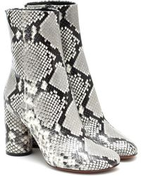 Vetements Snake-effect Leather Ankle Boots - Grey
