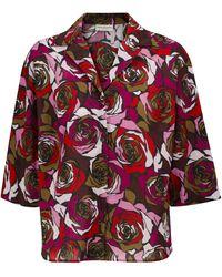 Dries Van Noten Camisa Cala de algodón print de rosas - Rojo