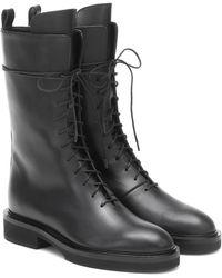 Khaite Conley Leather Boots - Black