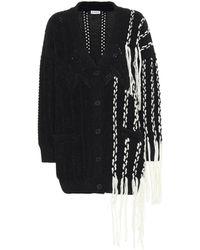 Loewe Contrast Detail Fringed Asymmetric Cardigan - Black