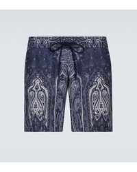 Etro Paisley Printed Swim Shorts - Blue