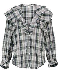Veronica Beard Itha Checked Cotton-blend Blouse - Black