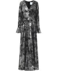 Halpern Printed Georgette Gown - Black