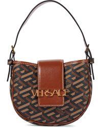 Versace La Greca Leather-trimmed Shoulder Bag - Black