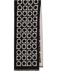 Ferragamo Écharpe en laine à logo - Noir
